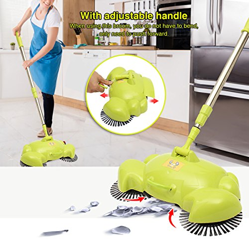 Automatic Hand Push Sweeper, LuckyFine 360 Rotary Automatic Broom Floor Dust Cleaning Sweeper Household Cleaner Mop Tool Green
