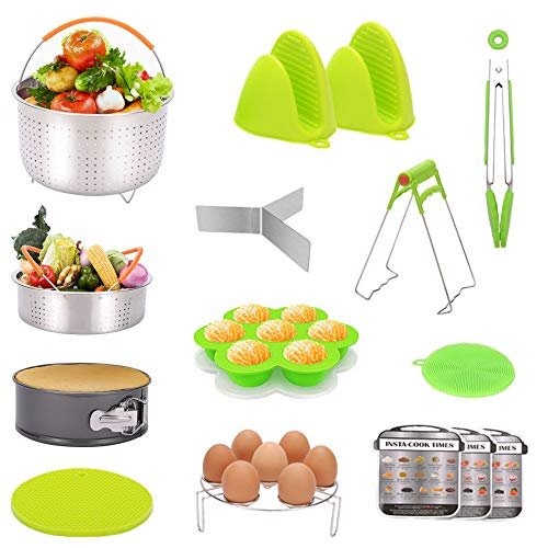 Audoyon 15 Pcs Instant Pot Accessories Set, Compatible with IP 6,8 Qt, Pressure Cooker Accessories with 2 Steamer Basket & Springform Pan and More, Best Gift For Kitchen