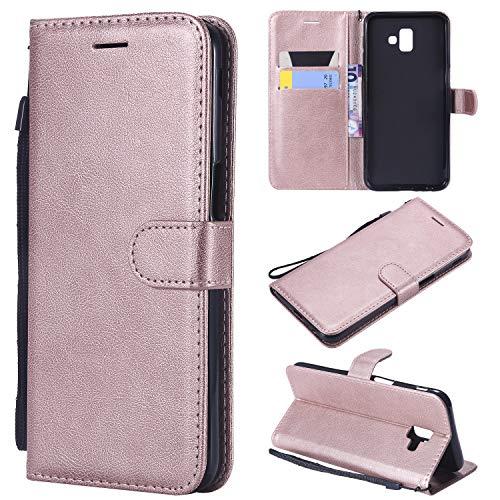 Artfeel Flip Brieftasche Hülle für Samsung Galaxy J6 Plus/J6 Prime, PU Leder Handyhülle mit Kartenhalter,Retro Bookstyle Stand Abdeckung mit Magnetverschluss Handschlaufe Schutzhülle-Roségold