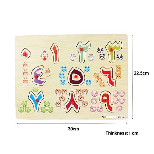 Edu Toys Wooden Toys Arabic Urdu Numerals Puzzles Arab Number 0-9 Digital Arabic Grab Plate/Board Puzzle Preschool Gift