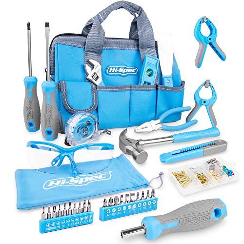 Preisvergleich Produktbild Hi-Spec 35-teiliges blaues Heimwerker-Werkzeugset & Schutzbrille mit 100-teiligem Wandbild-Aufhängeset für die Reparatur und Wartung von Haushaltsgeräten in einer praktischen blauen Werkzeugtasche