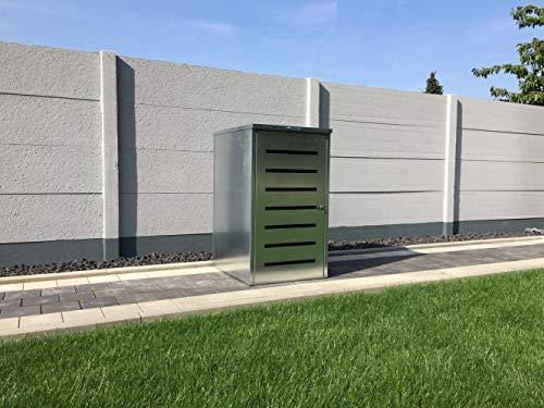 Srm-Design Mülltonnenbox Easy Modell No.6 für 240 Liter Mülltonnen/komplett Verzinkt/witterungsbeständig / mit Klappdeckel und Fronttür