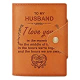 Engraved Wallet Passport Holder For Husband, RFID Blocking Leather Card Case Travel Document Organizer,Personalized Graduation Birthday Christmas Gifts (For Husband)
