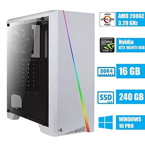 - CeO Zeta V2 - PC Gaming - AMD 200GE 3.20GHz 4MB Cache | 16GB Ram DDR4 | 240GB SSD | GTX 1050TI 4GB | HDMI/VGA Full HD | USB 3.0 | Wi-Fi | WIN10 PRO