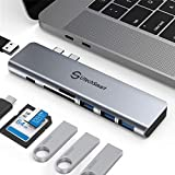 USB C Hub, Multiport USB C Adapter, 7 in 2 Aluminum Thunderbolt 3 Type C Adapter Dongle MacBook Pro Accessories, 3 USB 3.0 Ports,TF SD Card Reader,USB-C PD Compatible for MacBook Pro 13″ 15″ 2018 2019