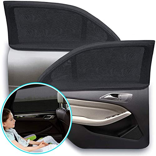 Car Window Shade, Elasticized Breathable Universal Mesh Car Shades for Side Windows, Sun Protection for Your Child Kid Pet (2 Pack)