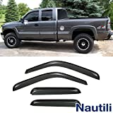 VioGi New 4pcs for 99-06 Silverado/Sierra 07 Classic Extended Cab Dark Smoke Out-Channel/Outside Mount Style Wind Sun Rain Guard Vent Shade Deflector Window Visorss