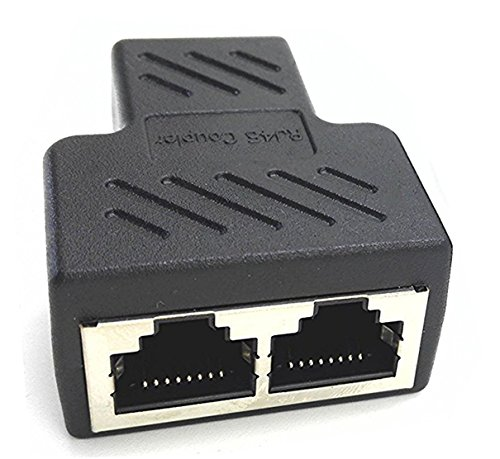 zdyCGTime RJ45 LAN adaptador divisor conector 1 hembra a 2 hembra, apto para Ethernet de categoría 5 Super y Categoría 6 Ethernet.