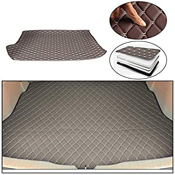 Maite Custom Car Trunk Mats for Volkswagen Polo Hatchback 2014-2018 Leather Car Boot Mats Waterproof Cargo Liner Protector Cover Gray