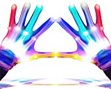 GLEDLOVES LED Finger Gloves,Finger Light Gloves,LED Gloves for Teen and Adult Gifts,The Toys for 13 and Up Year Old Boys Girls,Light Up Gloves Have 5Color/6Mode,in Party Outdoor/Indoor Games(1 Pair/L)