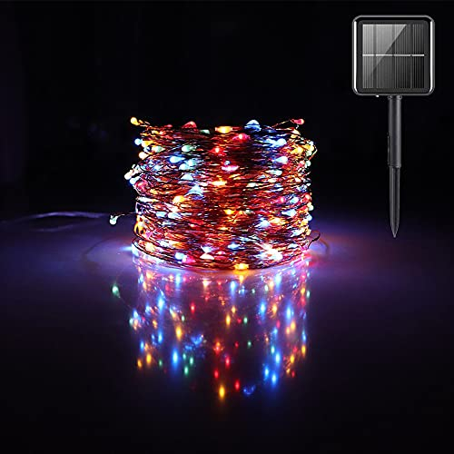 Outdoor String Lights Solar Powered Copper String Lights Indoor LED Brighten Cafe, AMEVRGTHS 64 Feet/20M,Suitable for Christmas New Year Party Wedding Bedroom Wall Decoration,Colored.