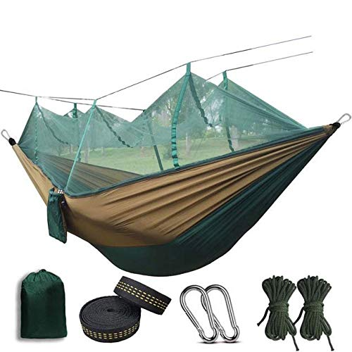 FENGSZ Portable Anti-Mosquito Bites Hammock 260Cm X 140Cm,Weight Capacity Max 440 Pound,For Outdoor Camping,Dark Green And Camel