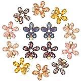 14 Clips de Pelo de Cristal de Flores Pequeñas Horquillas de Perla de Cocodrilo Mini Pinzas de Cabello con Flores Pasadores Decorativos Brillantes de Pelo con Estilo, 7 Colores