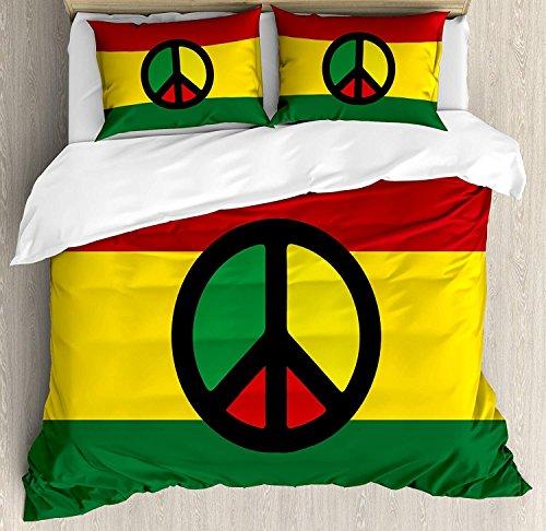 Juego de funda nórdica jamaicana de 3 piezas, símbolo de paz de la cultura reggae, diseño de la...