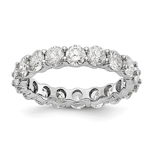 Alianza de boda de oro blanco pulido de 14 quilates con diamante...