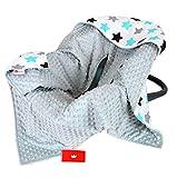 BabyLux Baby EINSCHLAGDECKE 90x90 cm Babyschale Kinderwagen Buggy Minky Decke (8. Grau + Sterne)