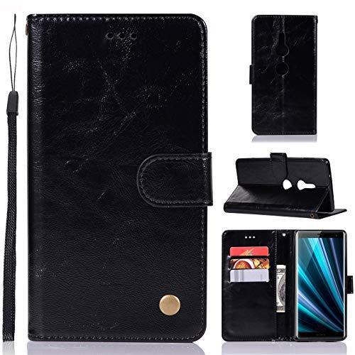 Capa para Sony Xperia XZ3, capa carteira para Sony Xperia XZ3, capa de couro sintético vintage com fecho magnético para Sony Xperia XZ3 de 6 polegadas