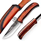 KK786, Rose Wood 1095 High Carbon Steel Handmade Bushcraft Hunting Knife - Full Tang Hunting Knife with Sheath