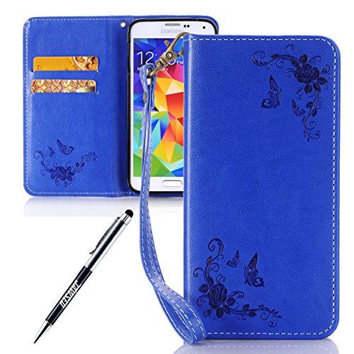 JAWSEU Coque Galaxy S5,Etui Galaxy S5 Portefeuille PU Étui Folio Cuir à Rabat Magnétique Roses Une Fleur Ultra Mince Stand Leather PU Case Flip Wallet Case pour Galaxy S5,Bleu