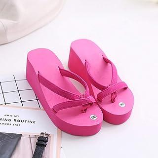 Women's High Heel Platform Wedge Flip-Flops Sandals, Open Toe Womens Girls Fashion Summer Slipper,A,35