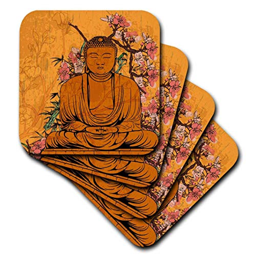 3dRose Buddha Statue with Lovely Pink Japanese Sakura Blossom Flowers Asian Inspired Gifts - Ceramic Tile Coasters, Set of 4 (CST_116366_3)