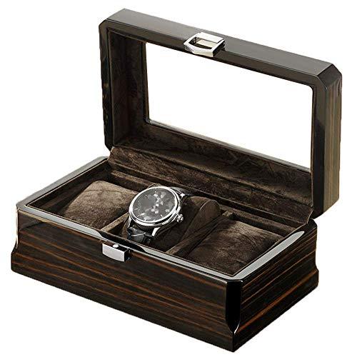 Joyero Para Mujer Caja De Reloj / Caja De Exhibición De Almacenamiento De Joyería De Madera Para 3 Relojes, Cerradura De Metal / Tapa De Vidrio, El Mejor Regalo Para Seres Queridos, Negro