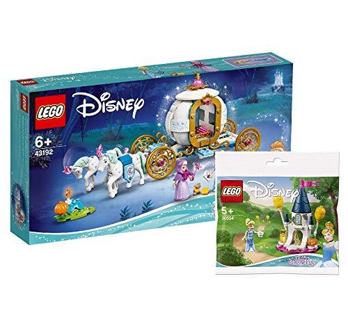 Collectix Lego Cenicienta - Juego de construcción de carruaje real de Cenicienta (43192) + minicastillo Cenicienta (30554)