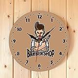 12 pollici personaggio dei cartoni animati negozio di barbiere orologio da parete decorazione della stanza orologio da parete moderno moda barbiere salone tempo pubblicitario orologio senza cornice
