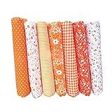 Topker 7pcs / Set Tela de algodón para el Tejido de Costura de Costura de remiendos Textil de casa Rosa Serie Tilda paño de Cuerpo de muñeca (Rosado) (Rosado) (Naranja, 25 * 25cm)