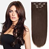 14' Clip Hair Extensions Human Hair Clip in Extensions Double Weft Dark Brown 2# 7pieces 85gram/2.9oz