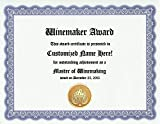 Winemaking Winemaker Award: Personalized Custom Wine Maker Award Certificate for Wine Making Friends and Fans of Wine (Funny Customized Present Joke Gift - Unique Novelty Item)