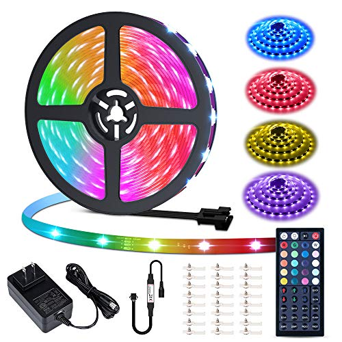 MustWin 40ft Led Strip Light 360 5050 LEDs Flexible Color Changing LED Lights with 44 Keys RF Remote Controller & 24V Power Supply Dimmable Tape Light Kit for Home Room Kitchen Bar Party Decoration