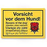 Komma Security Vorsicht vor dem Hund mehrsprachig - Hunde Kunststoff Schild Hinweisschild Gartentor Gartenzaun - Türschild Haustüre Warnschild Abschreckung Einbruchschutz - Achtung Hund