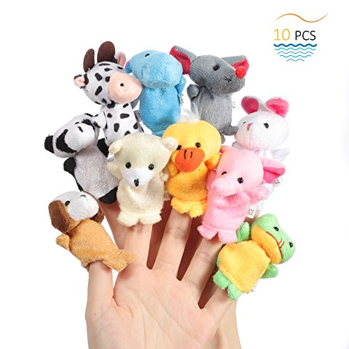 Twister.CK Finger Puppets, Baby Story Time Props, 10 Piezas Animal Style Soft Velvet Dolls Apoyos Juguetes educativos para bebés niños
