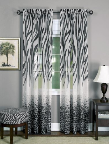 Achim Home Furnishings, Black/White, Kenya Window Curtain Panel, 50 x 63-Inch