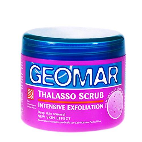 Geomar Thalasso Scrub Intensive Exfoliation - Confezione 600 gr. con semi d'uva per la cura del corpo, contiene solo ingredienti naturali, per peeling corpo morbido, brillante e liscio.