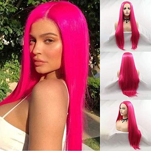 KARISSA Kylie Jenner Hair style Rose Red Pelucas delanteras largas de encaje sintético para mujer Peluca de encaje rosa oscuro con parte media Reemplazo de cabello de fibra resistente al calor sin