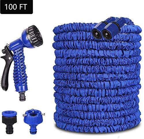 Konety Flexibler Gartenschlauch, Gartenschläuche Flexibler 30m 100FT Flexibler Basic Wasserschlauch Flexible dehnbarer Flexischlauch Multisfunktionsbrause mit 7 Funktionen für Garten Blau