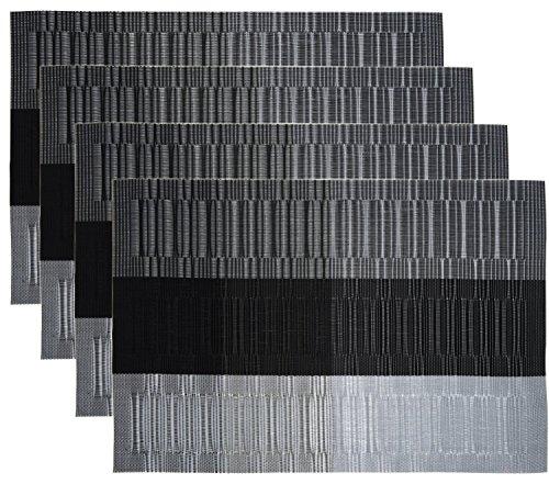 HOGAR AMO 4er Set Platzset PVC 45x30 cm Hitzebeständig Platzdeckchen Abwaschbar und rutschfest Tischset für Küche Speisetisch Restaurant (Grau + Schwarz)