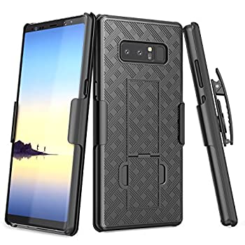 Galaxy Note 8 Case TILL [Thin Design] Holster Locking Belt Swivel Clip Non-Slip Texture Hard Shell [Built-in Kickstand] Combo Case Defender Cover for Samsung Galaxy Note 8 All Carriers [Black]