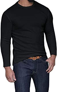 Men's Round Neck Long Sleeve Slit Hipster Jersey Solid T-Shirt