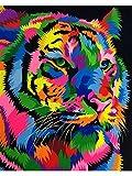 N / D ysyxin Niños Adultos Pintura al óleo DIYTigre de Color Set de Bricolaje para Pintar por números Kit de Regalo para niños hágalo Usted Mismo pintura-16 x 20 Pulgadas (sin Marco)