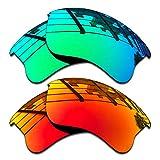 SEEABLE Premium Polarized Mirror Replacement Lenses for Oakley Flak Jacket XLJ OO9009 Sunglasses - Jade Mirror+Fire Orange Mirror