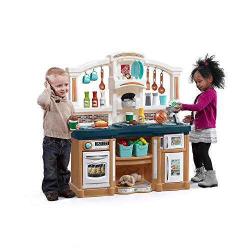 Step2 Fun with Friends Kitchen | Large Plastic Play Kitchen with Realistic Lights & Sounds | Blue Kids Kitchen Playset & 45-Pc Kitchen Accessories Set