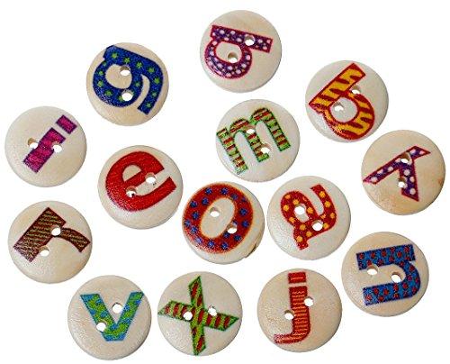 SiAura Material ® - 200 unidades de botones de madera redondos con letras de colores naturales, patrón multicolor, diámetro de 15 mm, 2 agujeros