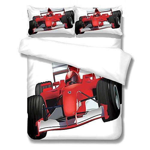 YNKNIT Kids Duvet Cover Set Single 3D Printed Racing Car Bedding Duvet Cover Set with 2 pillowcase & Zipper Closure for Boys Teen Soft Microfiber Duvet Cover Single Size 135x200cm