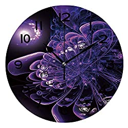 AmaUncle Print Round Wall Clock, 10 Inch Dark Fractal Flower Digital Artwork for Creative Graphic Design Quiet Desk Clock for Home,Office,School SW158486