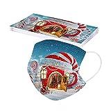 10 Stücke Einweg Erwachsene mund und Nasenschutz, Weihnachtsmann Druck Mundbedeckung Atmungsaktive Staubschutz Mundschutz Frauen männlich Staubdicht Multifunktional Halstuch