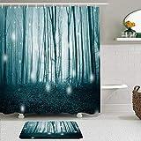 Ngkaglriap Duschvorhang Sets mit rutschfesten Teppichen,Dark Cyan Blue Foggy Fairytale Magischer Baum Firefly Forest Fireflies Nature Fantasy Stylish, Badematte + Duschvorhang mit 12 Haken