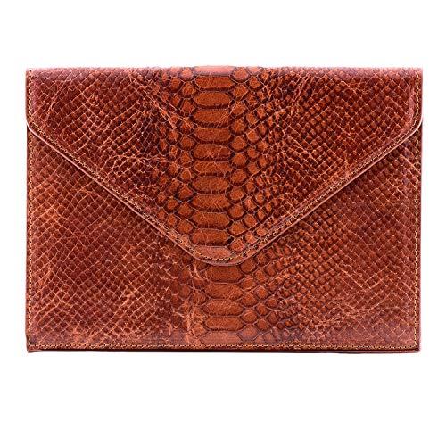 Otto Angelino Italienisches Leder Damen Clutch Unterarmtasche - RFID-Schutz - Magnetischer Vorderverschluss mit Mehreren Fächern für Kredit-, EC- oder Visitenkarten - Schlankes Ultra-Slim Design